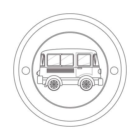 silhouette contour: circular contour of silhouette with mini bus vector illustration