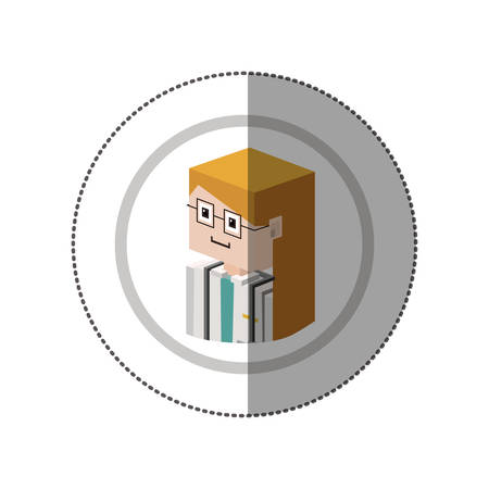 scrubs: sticker lego with portrait female doctor with glasses vector illustration Illustration