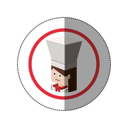 sticker lego with portrait female chef shading vector illustration Illustration