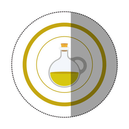 sticker circular shape with rounded glass jar with cork stoppers vector illustration