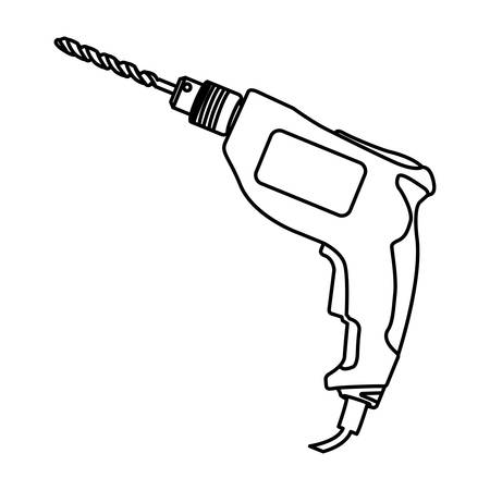 drilled: contour line monochrome with drill vector illustration