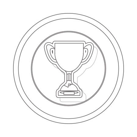 silhouette contour: circular contour of silhouette trophy cup with plate vector illustration Illustration