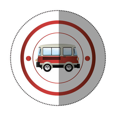 commerce and industry: sticker with circular shape with colorful red van vector illustration