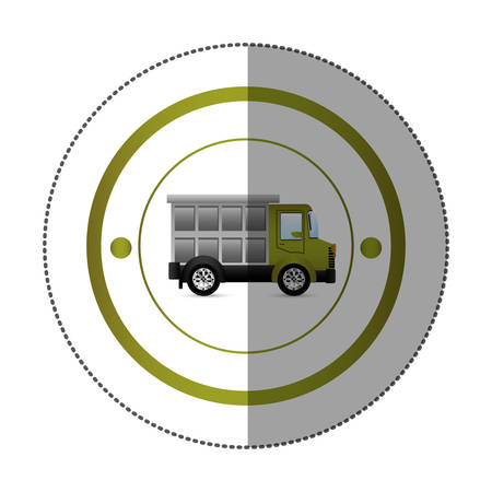 sticker with circular shape with colorful dump truck vector illustration Illustration