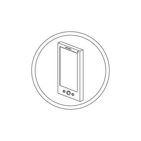 silhouette contour: circular contour of silhouette smartphone vector illustration