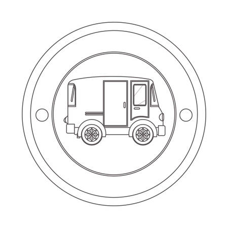 commerce and industry: circular contour of silhouette with mini van vector illustration