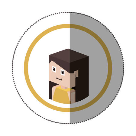 sticker lego with portrait female person vector illustration
