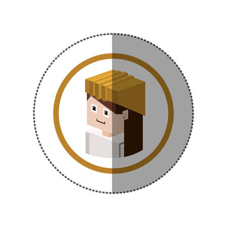 sticker with portrait lego woman worker with helmet vector illustration