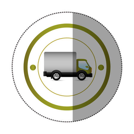 sticker with circular shape with truck and wagon vector illustration Illustration