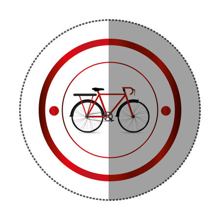 rack mount: sticker with circular shape with colorful bicycle and rack vector illustration