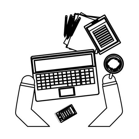 Work and technology concept icon vector illustration graphic design