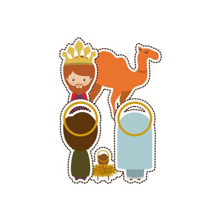 Christmas manger concept icon vector illustration graphic design