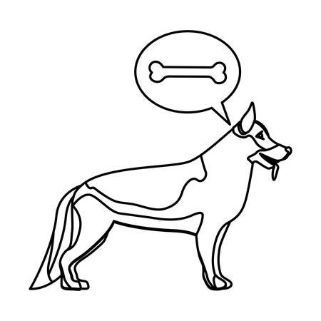 german shepherd dog: black contour with german shepherd dog thinkin bone vector illustration