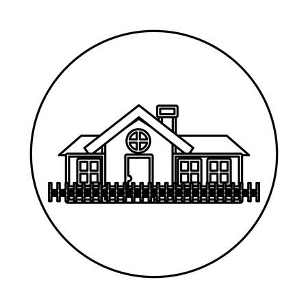penthouse: monochrome contour circle of house with chimney and wooden fence vector illustration