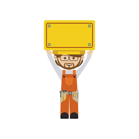 career entry: colorful man worker with toolkit and yellow billboard . Vector illustration