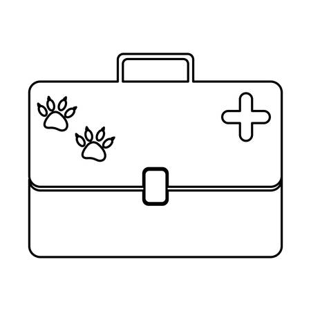 canine: monochrome silhouette with vet first aid suitcase vector illustration