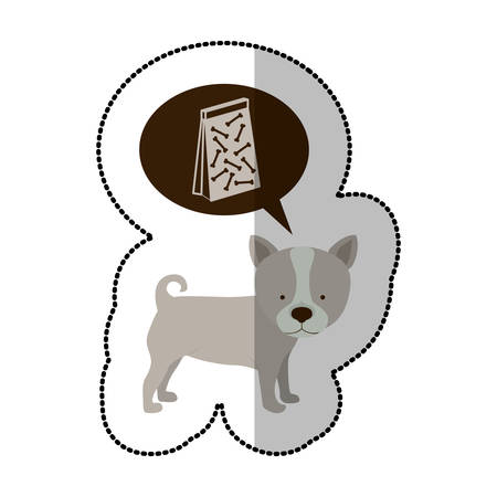 colorful image middle shadow sticker with husky dog thinkin pet bag poop vector illustration