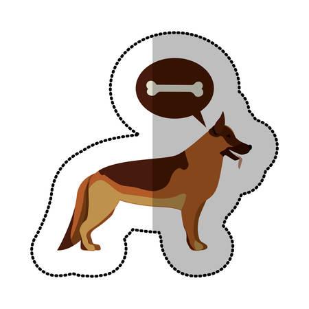 german shepherd dog: colorful image middle shadow sticker with german shepherd dog thinkin bone vector illustration