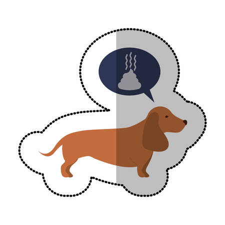 colorful image middle shadow sticker with dachshund dog thinkin poop vector illustration Illustration