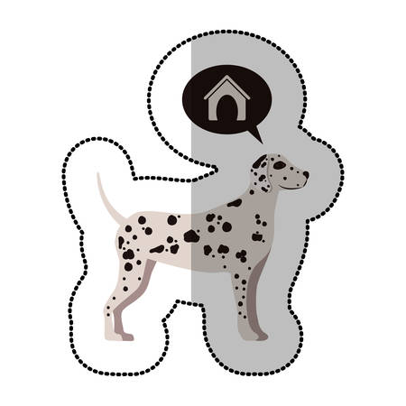 dalmatian: colorful image middle shadow sticker with dalmatian dog thinkin home vector illustration