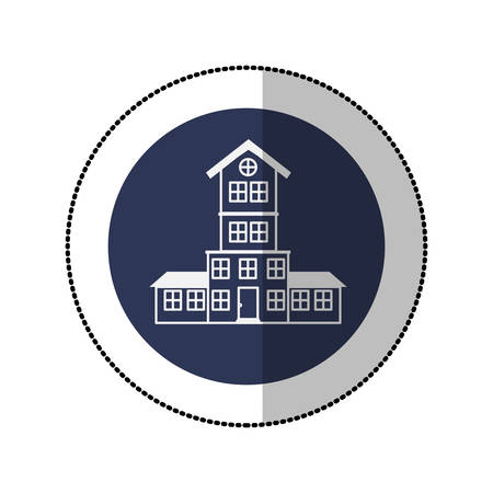 penthouse: color image middle shadow sticker in circle with house with four floors vector illustration