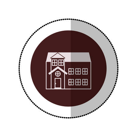 penthouse: color image middle shadow sticker in circle with house with two floors vector illustration
