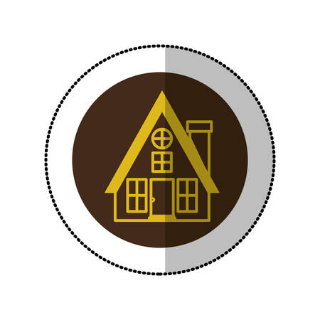 penthouse: color image middle shadow sticker in circle with house with chimney vector illustration Illustration