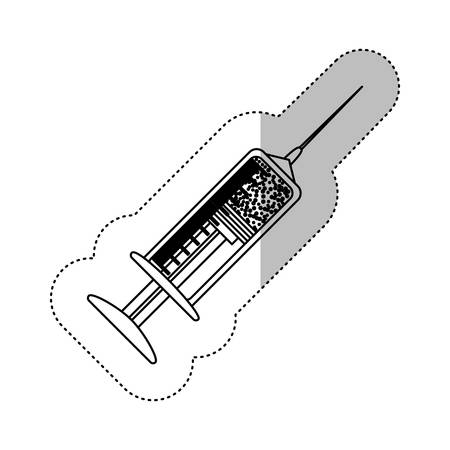 monochrome contour with middle shadow sticker with syringe with medicine vector illustration Illustration