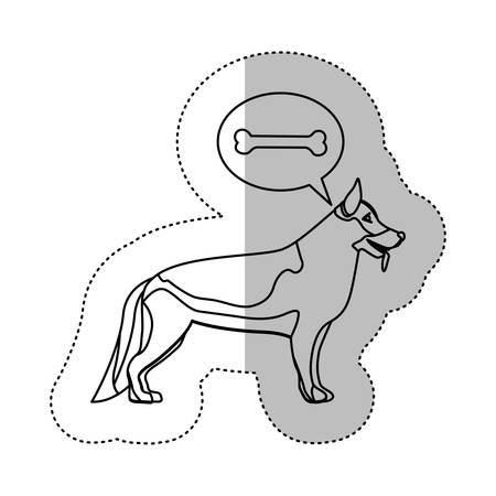 german shepherd dog: monochrome contour middle shadow sticker with german shepherd dog thinkin bone vector illustration
