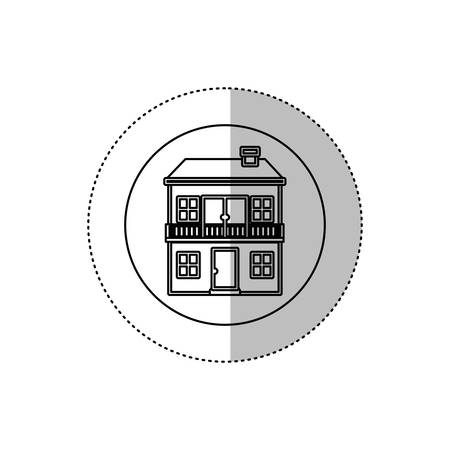 penthouse: monochrome contour with middle shadow sticker in circle of house with two floors and balcony vector illustration