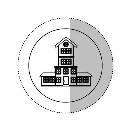 penthouse: monochrome contour with middle shadow sticker in circle of house with four floors vector illustration Illustration