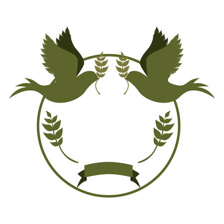 circular border with pigeons with olive branch vector illustration