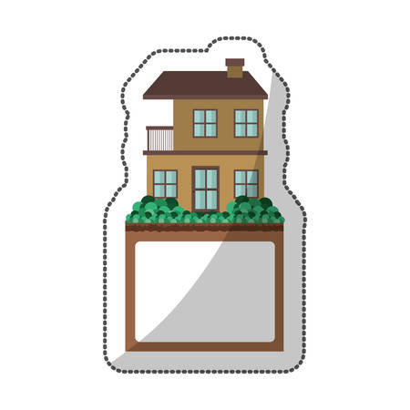 sticker of apartment with two floors design and label vector illustration Illustration