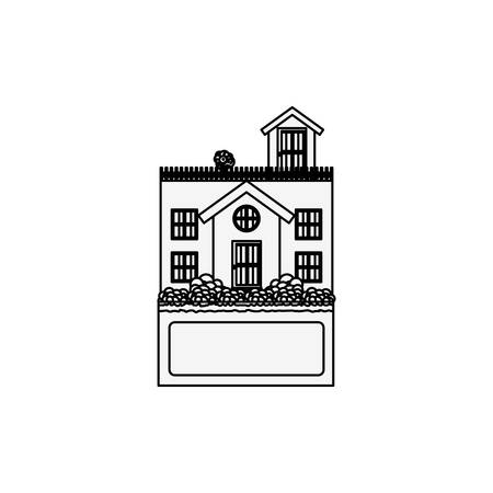 penthouse: silhouette house with terrace and label vector illustration Illustration