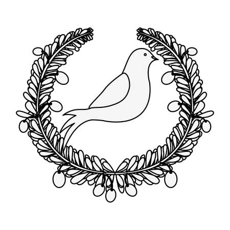silhouette arch of leaves with pigeon with olive branch vector illustration