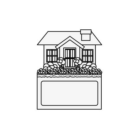 apartment suite: silhouette small house design with label vector illustration Illustration