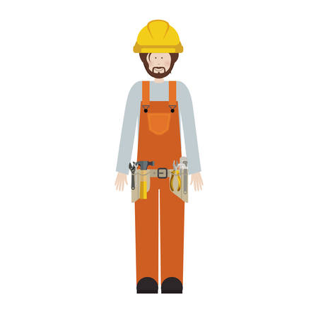 tool belt: male worker with toolkit and beard vector illustration