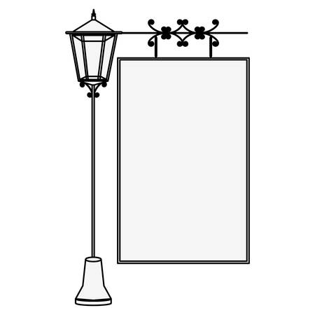 lamp post: silhouette lamp post with poster vector illustration