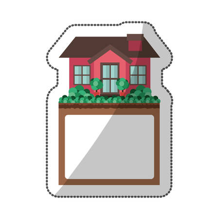 penthouse: sticker of small house design with label Illustration