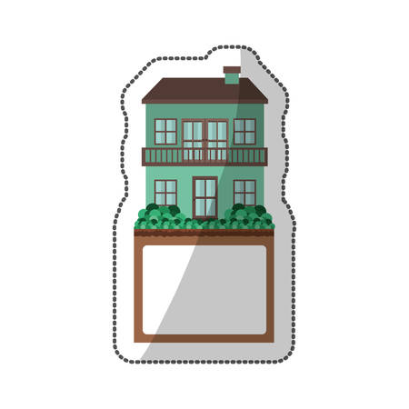 penthouse: sticker of house with two floors and balcony