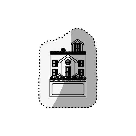 penthouse: sticker silhouette house with terrace and label vector illustration Illustration