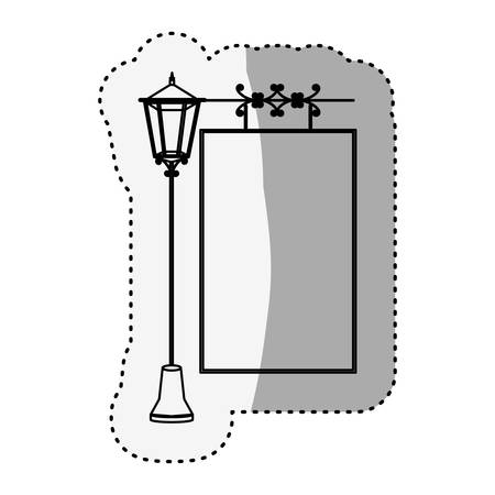 lamp post: sticker silhouette lamp post with poster vector illustration