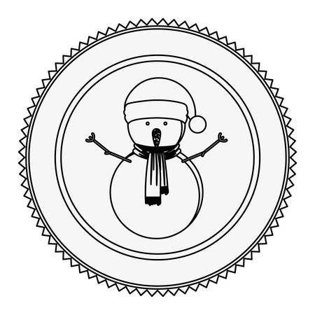 monochrome contour circle with snowman with scarf vector illustration