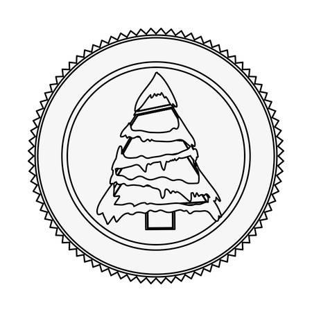 クリスマス ツリー雪ベクトル イラスト白黒輪郭円