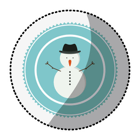 color circle with middle shadow sticker with snowman with hat vector illustration