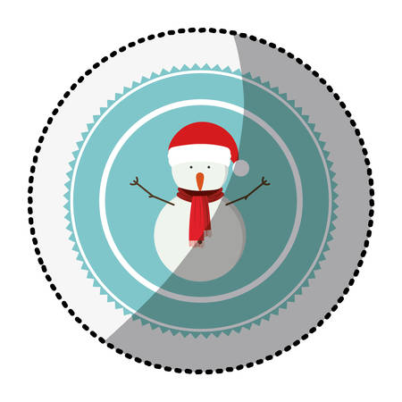 color circle with middle shadow sticker with snowman with scarf vector illustration Illustration