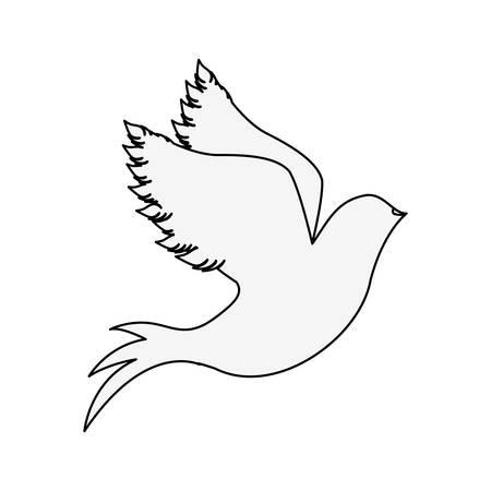 Silueta de paloma empezar a volar ilustración vectorial