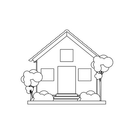 silhouette house with two floors vector illustration