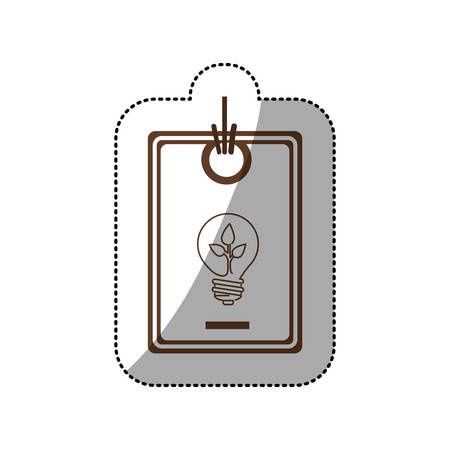 sticker price tag of light bulb with leaf inside vector illustration
