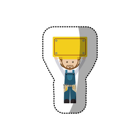 blue overall: sticker avatar worker with toolkit and plaque up vector illustration